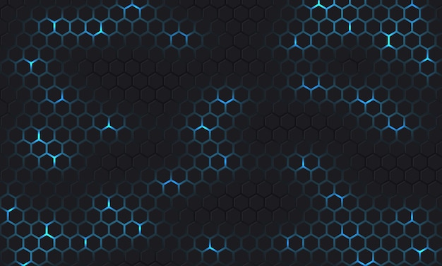 Dark gray and blue technology hexagonal background with blue bright energy flashes under hexagon.