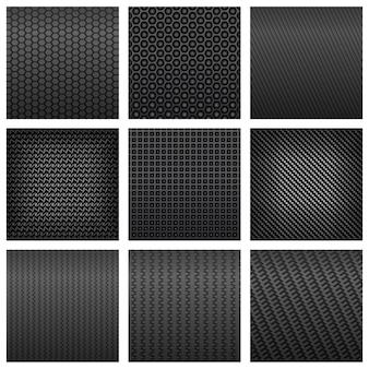 배경 또는 현대 기술 설계를위한 다양한 모양의 어두운 회색 탄소 섬유 원활한 패턴 배경