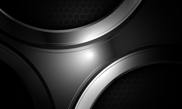 Dark gray futuristic abstract background with honeycomb grid and abstract metallic grey shape.