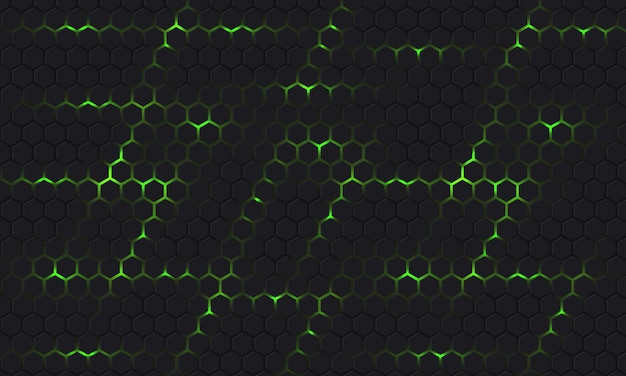 Dark gray and green technology hexagonal vector background with green bright energy flashes under honeycomb texture grid.