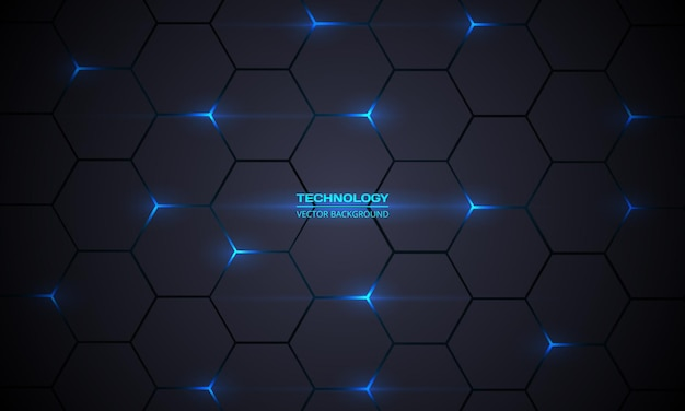 Dark gray hexagonal technology abstract background wit blue bright energy flashes