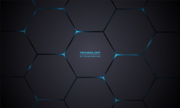 Dark gray hexagonal technology  abstract background.