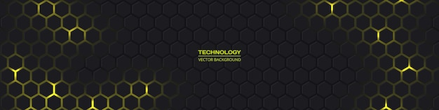 Dark gray wide hexagonal d abstract technology background with yellow energy flashes under hexagon