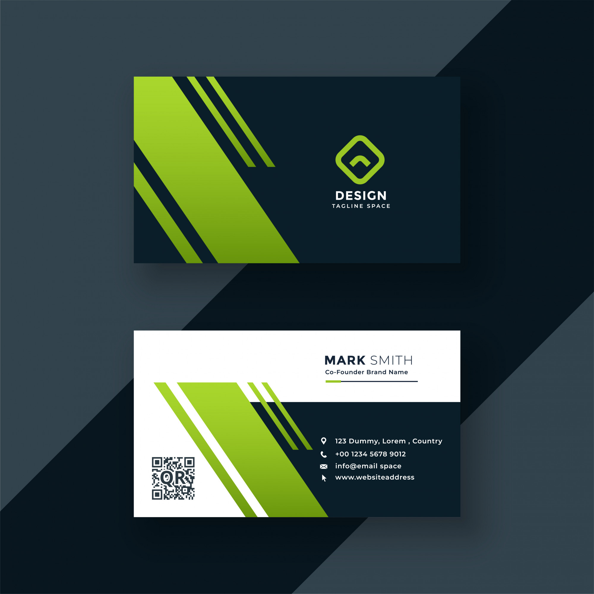 Dark green business card professional design