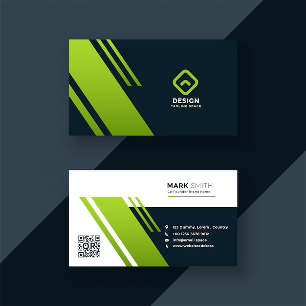 Business card design templates dark green business card professional design reheart Image collections