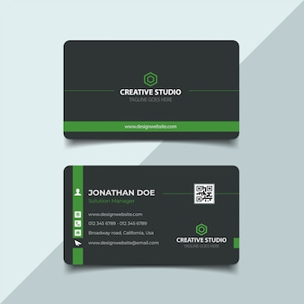 Dark and green business card