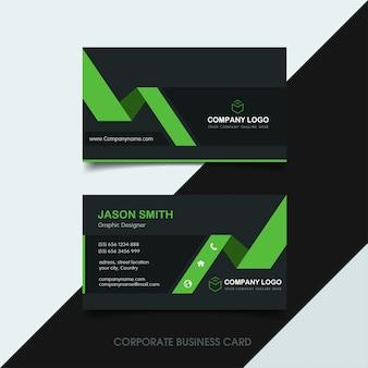 Dark green business card