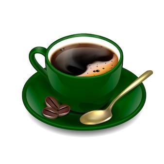 Dark green cup of coffee