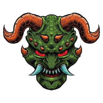 Dark green evil  with red horn illustration