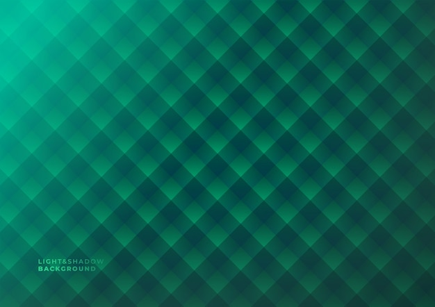 Dark green geometric light and shadows abstract background.
