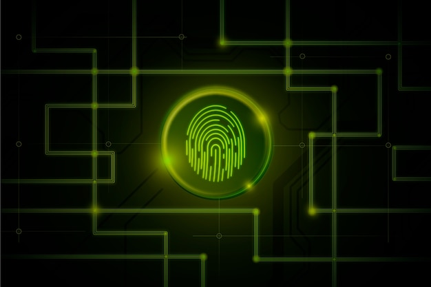 Dark green neon fingerprint background