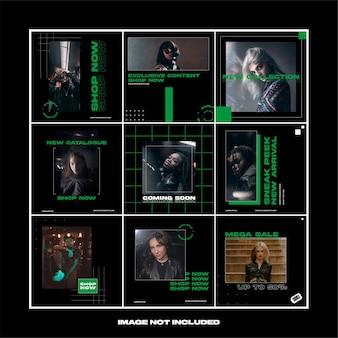 짙은 녹색 거리 착용 패션 과대 광고 소셜 미디어 instagram 템플릿 번들 게시물