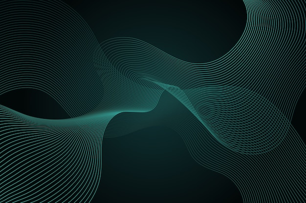 Dark green wavy background with copy space