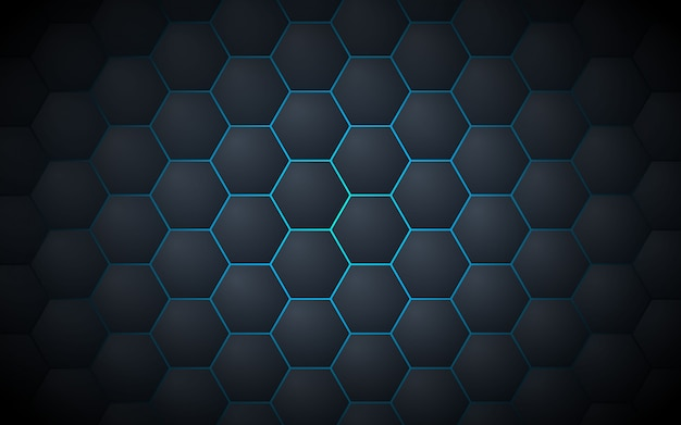 Dark grey abstract hexagon pattern background