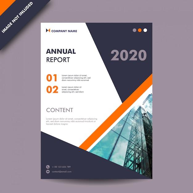 Годовой отчет темно-серого и оранжевого цвета и шаблон бизнес-печати на обложке