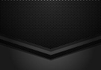 Dark grey arrow direction on hexagon mesh pattern background.