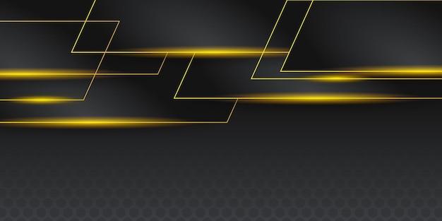 ダークグレーの黒と黄色のストライプの抽象的なバナーデザイン。幾何学的な技術ベクトルの背景