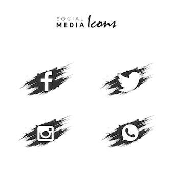 Dark grey brush made social media icon set collection