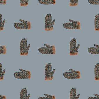 濃い灰色の手描きのミトンのシームレスなパターン。