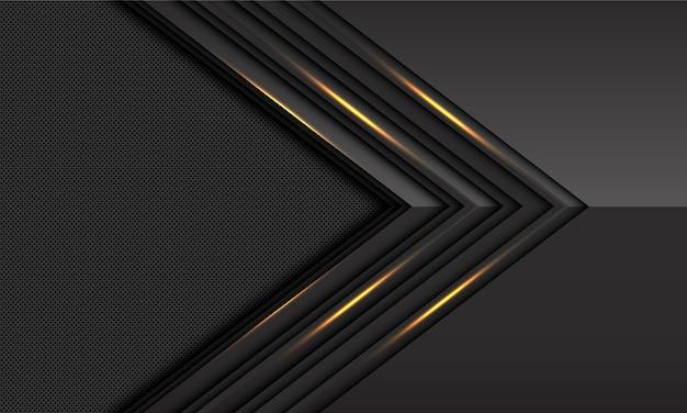 Dark grey gold light arrow direction circle mesh pattern futuristic background.