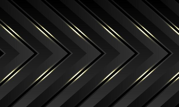 Dark grey gold light arrow pattern direction luxury futuristic background.