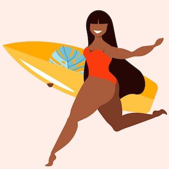 Девушка темных волос держа доску серфинга. девушка с доской для серфинга. загорелая красавица-женщина-серфер. активные летние виды спорта рисованной иллюстрации. модный гавайский дизайн плаката для интернета и печати.