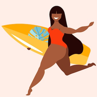 Dark hair girl holding surfing board. a girl with a surfing board. tanned beauty female surfer. active summer sports hand-drawn  illustration. trendy hawaiian poster design for web and print.