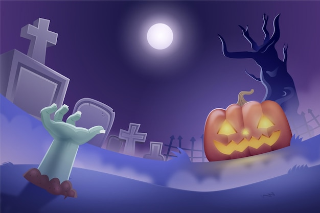 Dark halloween background with cemetery and scary pumpkin