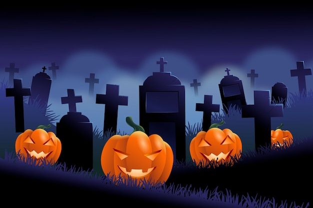 Dark halloween background with cemetery