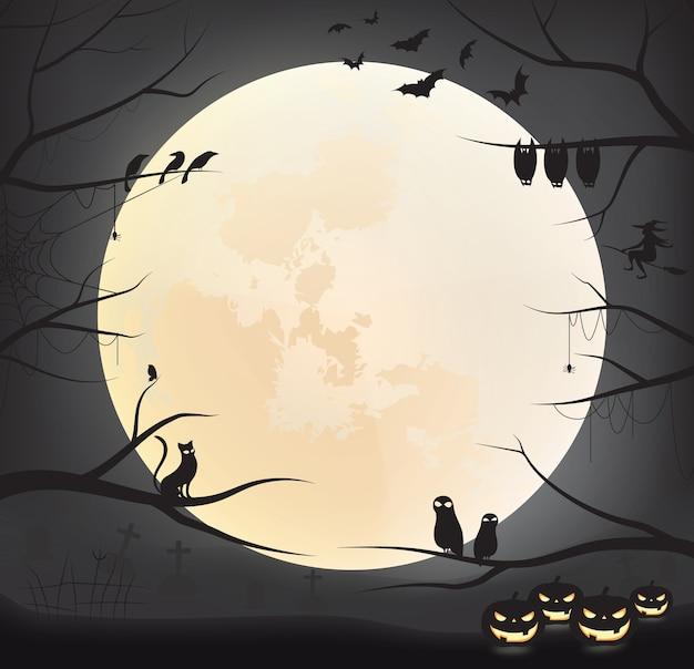 Dark halloween background with moon