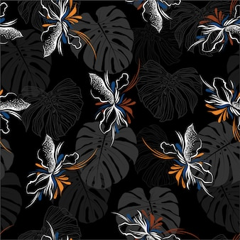 Dark hand drawn of abstract tropiacal flowers layer