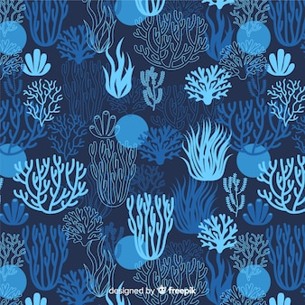Dark hand drawn coral pattern