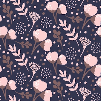 Dark hand drawn floral pattern