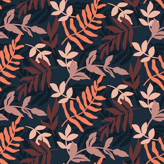 Dark hand drawn leaves pattern