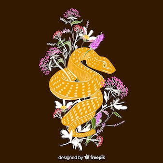 Dark hand drawn snake with flowers background