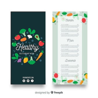 Dark healthy menu template