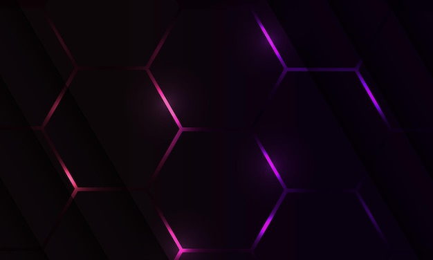 Dark hexagon gaming abstract background with violet and pink colored flashes