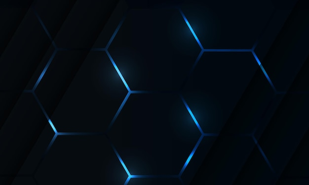 Dark hexagon gaming abstract vector background with blue colored bright flashes