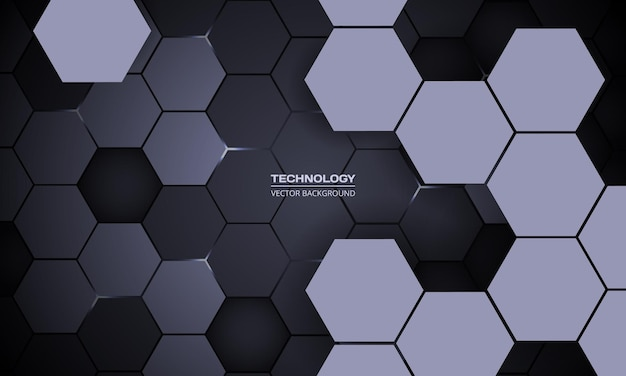 Dark hexagonal abstract technology d background with white energy flashes under hexagon