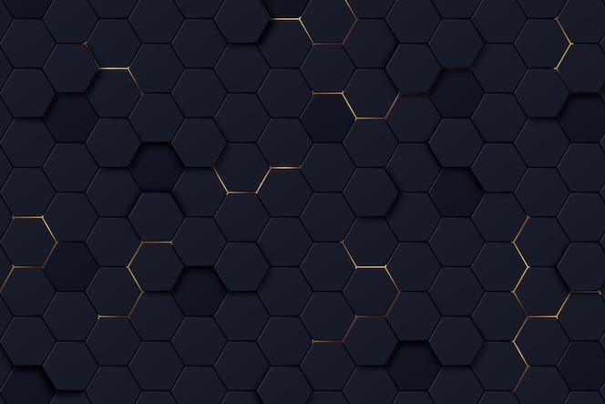 グラデーションカラーの暗い六角形の背景