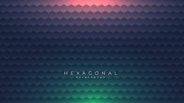 Dark hexagonal background with green and red light