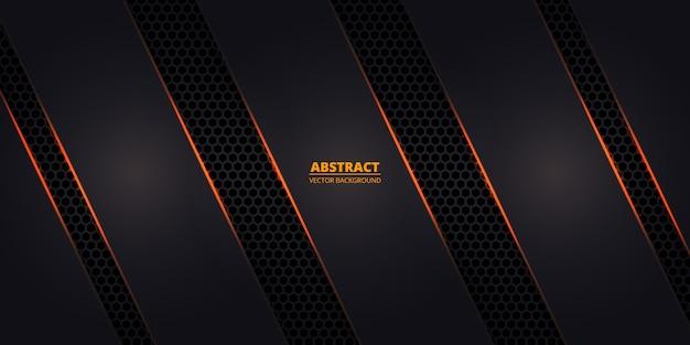 Темный шестиугольный углеродный волокнистый фон с оранжевыми светящимися линиями и бликами.