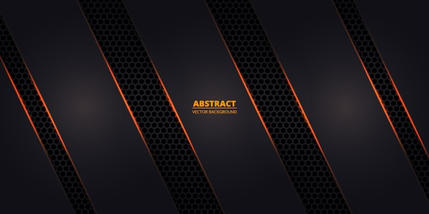 Dark hexagonal carbon fiber background with orange luminous lines and highlights.