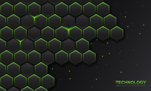 녹색 빛 라인 배경으로 어두운 육각형 기술