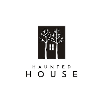 Dark house window and tree illustration logo