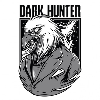 Dark hunter black and white illustration