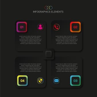 Темные элементы инфографики 4 шага с эффектом темного свечения