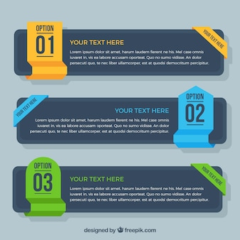Dark infographic banners with colored elements