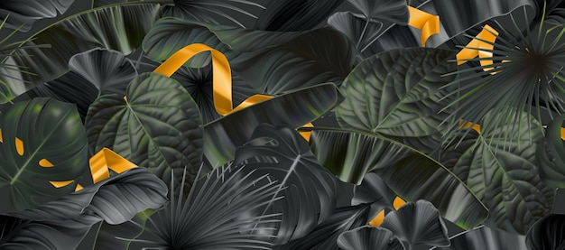 Dark jungle leaves with gold ribbons seamless pattern