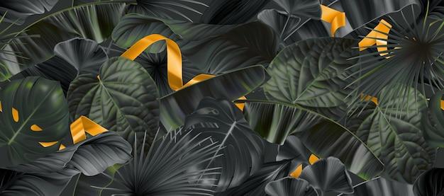 Темные листья джунглей с золотыми лентами бесшовные модели
